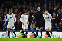 Crystal Palace's Luka Milivojevic protests to Referee Anthony Taylor <br /> <br /> Photographer Craig Mercer/CameraSport<br /> <br /> The Premier League - Chelsea v Crystal Palace - Saturday 10th March 2018 - Stamford Bridge - London<br /> <br /> World Copyright &copy; 2018 CameraSport. All rights reserved. 43 Linden Ave. Countesthorpe. Leicester. England. LE8 5PG - Tel: +44 (0) 116 277 4147 - admin@camerasport.com - www.camerasport.com