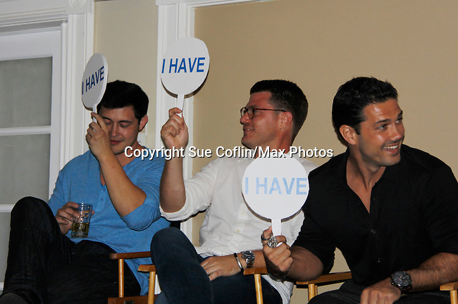 Christopher Sean - Jeff  Branson - Ryan Paivey play I Have - I Have Never - Actors from Y&R, General Hospital and Days donated their time to Southwest Florida 16th Annual SOAPFEST - a celebrity weekend May 22 thru May 25, 2015 benefitting the Arts for Kids and children with special needs and ITC - Island Theatre Co. as it presented A Night of Stars on May 23 , 2015 at Bistro Soleil, Marco Island, Florida. (Photos by Sue Coflin/Max Photos)