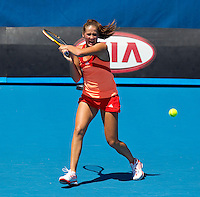 BOJANA JOVANOVSKI (SRB) against CASEY DELLACQUA (AUS) in the First Round of the Women's Singles. Casey Dellacqua beat Bojana Jovanovski 6-3 6-2..16/01/2012, 16th January 2012, 16.01.2012..The Australian Open, Melbourne Park, Melbourne,Victoria, Australia.@AMN IMAGES, Frey, Advantage Media Network, 30, Cleveland Street, London, W1T 4JD .Tel - +44 208 947 0100..email - mfrey@advantagemedianet.com..www.amnimages.photoshelter.com.