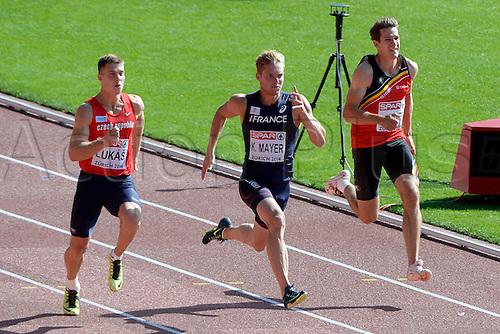 12.08.2014. Zurich, Switzerland. Mens 100m decathalon. Thomas Van Der Plaetsen  ( BEL ) -  Kevin Mayer ( FRA )