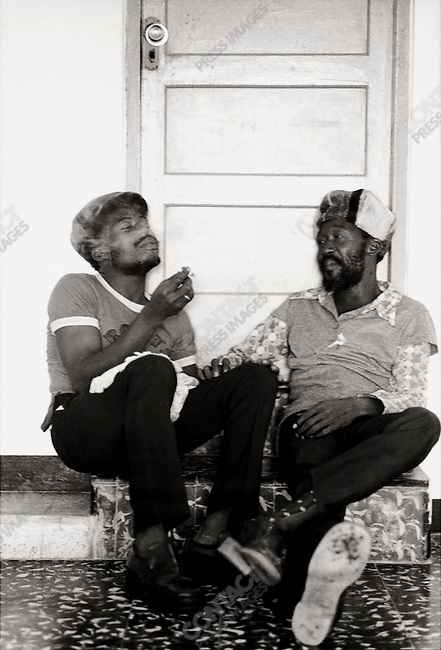 "Noel ""Zoot"" or ""Scully"" Simms and Lee ""Milo"" Spence at Jack Ruby's in Ocho Rios. Kingston, Jamaica. March 1976"
