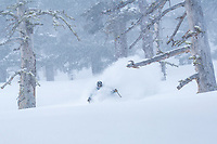 John Morrison skiing the west shore of Lake Tahoe during a rare, cold and deep, storm cycle.