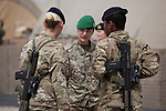 Mcc0053988 . Daily Telegraph<br /> <br /> DT News<br /> <br /> Three female British soldiers stop for a chat after the official handover ceremony which took place in Camp Bastion of Task Force Helmand to Nato command signalling the end of British combat operations in Afghanistan .<br /> <br /> Helmand 30 March 2014