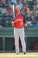 Designated hitter Grant DeBruin (12) of the Hagerstown Suns, in a game against the Greenville Drive on May 12, 2015, at Fluor Field at the West End in Greenville, South Carolina. Greenville won, 4-0. (Tom Priddy/Four Seam Images)