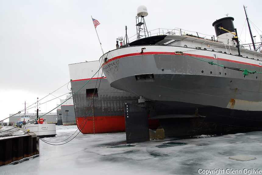 Lower Lakes Towing/Grand River Navigation Great Lakes ships including the Manistee berthed at the Government Dock, Sarnia for winter maintenance.