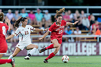NEWTON, MA - AUGUST 29: Shannon Keefe #20 of Boston University attempts to control the ball as Michela Agresti #23 of Boston College  pressures during a game between Boston University and Boston College at Newton Campus Field on August 29, 2019 in Newton, Massachusetts.