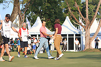 Wade Ormsby (AUS) and Tommy Fleetwood  (ENG) on the 18th green during Round 4 of the UBS Hong Kong Open, at Hong Kong golf club, Fanling, Hong Kong. 26/11/2017<br /> Picture: Golffile | Thos Caffrey<br /> <br /> <br /> All photo usage must carry mandatory copyright credit     (&copy; Golffile | Thos Caffrey)