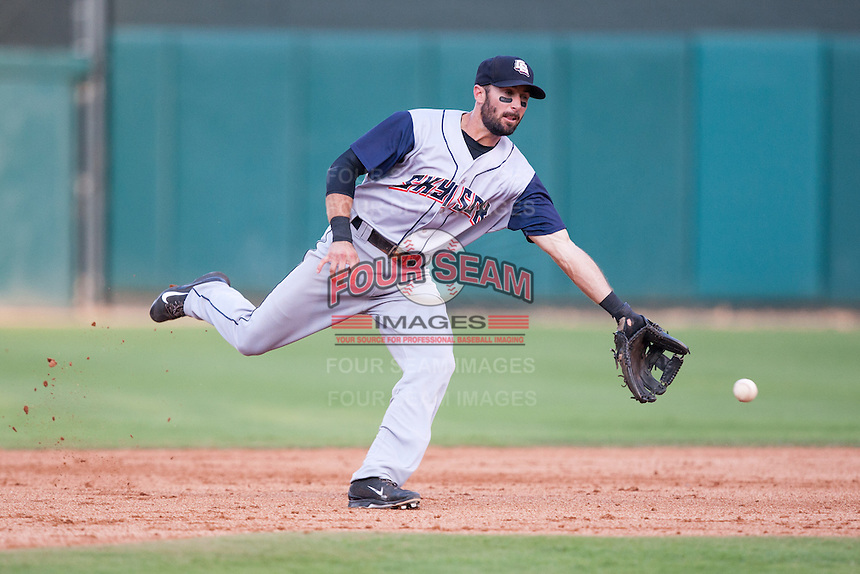 Colorado Springs Sky Sox second baseman Drew Garcia (5) goes after a ground ball during the Pacific League game against the Oklahoma City RedHawks at the Chickasaw Bricktown Ballpark on August 3, 2014 in Oklahoma City, Oklahoma.  The RedHawks defeated the Sky Sox 8-1.  (William Purnell/Four Seam Images)