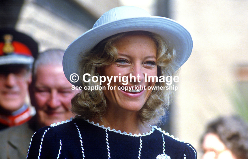 A smiling Princess Michael of Kents meets guests at a Fold Housing Association reception in Holywood, Co Down, during a June 1985 visit to N Ireland. 19850610PM2..Copyright Image from Victor Patterson, 54 Dorchester Park, Belfast, UK, BT9 6RJ..Tel: +44 28 9066 1296.Mob: +44 7802 353836.Voicemail +44 20 8816 7153.Skype: victorpattersonbelfast.Email: victorpatterson@me.com.Email: victorpatterson@ireland.com (back-up)..IMPORTANT: If you wish to use this image or any other of my images please go to www.victorpatterson.com and click on the Terms & Conditions. Then contact me by email or phone with the reference number(s) of the image(s) concerned.