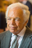 17 May 2016 - London, England - Ralph Lauren during a visit to the Royal Marsden NHS Foundation Trust, in Chelsea, west London, with the Duke of Cambridge (not pictured) as he marks the opening of the hospital's new centre for breast cancer research named after the fashion designer. The Ralph Lauren Centre for Breast Cancer Research was funded by supporters of the Royal Marsden Cancer Charity, including a generous donation from the designer. William has a long association with the hospital, he became the Royal Marsden's president in 2007, following in the footsteps of his mother Diana, Princess of Wales, who held the same position from 1989 until her death in 1997. Photo Credit: ALPR/AdMedia