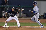 Reno Aces' Mike Jacobs make the out against Las Vegas 51s' Logan Verrett during a game in Reno, Nev., on Saturday, Sept. 6, 2014. The Aces won 7-3, to win the Pacific Conference Championship Series. <br /> Photo by Cathleen Allison