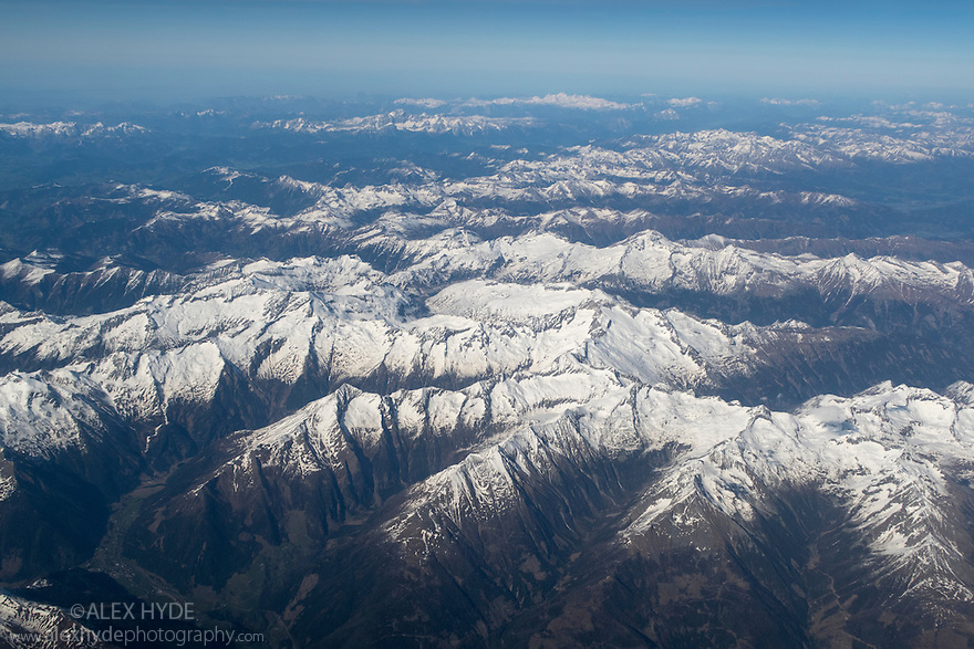 Austrian Alps viewed from an aeroplane. Austria, April.