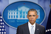 United States President Barack Obama pauses while making a statement about multiple acts of violence in Paris in the Brady Press Briefing Room of the White House in Washington, D.C., U.S., on Friday, November 13, 2015. Obama said the U.S. is prepared to provide whatever assistance France needs in the wake of terrorist attacks in Paris that killed dozens of people on Friday night. <br /> Credit: Andrew Harrer / Pool via CNP