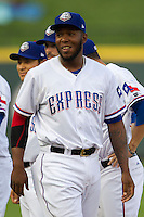 Round Rock Express pitcher Neftali Feliz #35 the Pacific Coast League baseball game against the Oklahoma City Redhawks on April 3, 2014 at the Dell Diamond in Round Rock, Texas. The Redhawks defeated the Express 7-6 in the season opener for both teams. (Andrew Woolley/Four Seam Images)