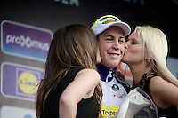 podium kisses for race winner Jelle Wallays (BEL/Topsport Vlaanderen-Baloise)<br /> <br /> 70th Dwars Door Vlaanderen 2015
