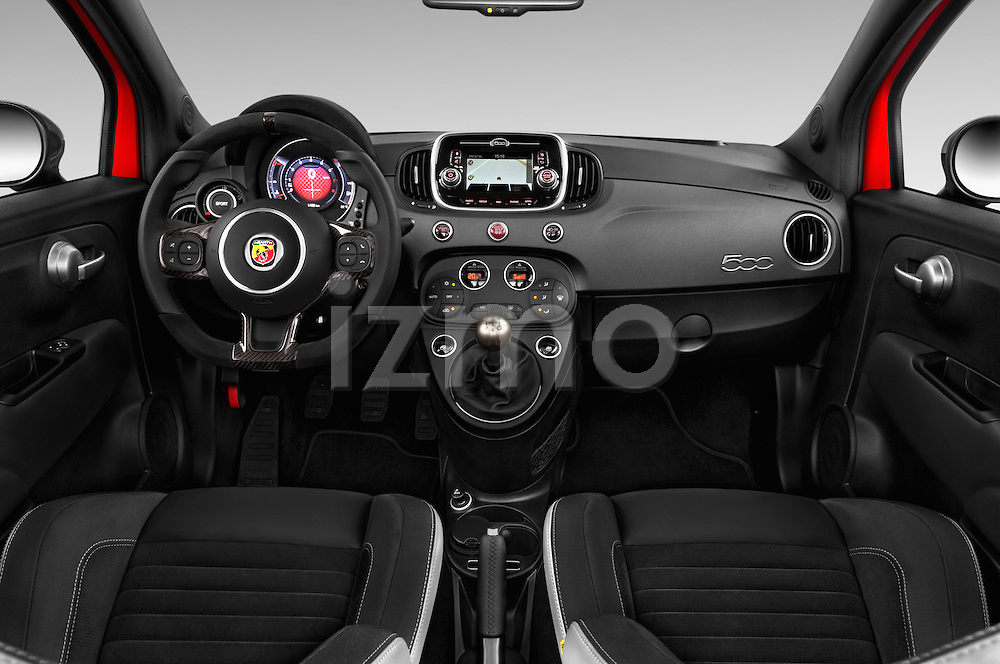 Stock photo of straight dashboard view of 2016 Abarth 595 Competizione 2 Door Convertible Dashboard