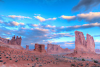 Towers of Arches and dawn sky, Arches National park, Utah   Three Gossips, Sheep Rock, Courthouse Towers