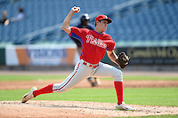 Chad Luensmann (34) of Bellwood-Antis High School in Altoona, Pennsylvania playing for the Philadelphia Phillies scout team during the East Coast Pro Showcase on August 1, 2014 at NBT Bank Stadium in Syracuse, New York.  (Mike Janes/Four Seam Images)