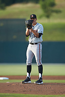 Delmarva Shorebirds starting pitcher Grayson Rodriguez (36) looks to his catcher for the sign against the Kannapolis Intimidators at Kannapolis Intimidators Stadium on June 4, 2019 in Kannapolis, North Carolina. The Intimidators defeated the Shorebirds 9-0. (Brian Westerholt/Four Seam Images)