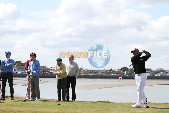 Padraig Harrington (Stackstown) with John Grant (The Island), Kevin Knightly (Royal Dublin) and Gavin Moynihan (The Island)  taking part in the Hilary Golf society Outing at Sutton Golf Course...(Photo Jenny Matthews/www.golffile.ie)