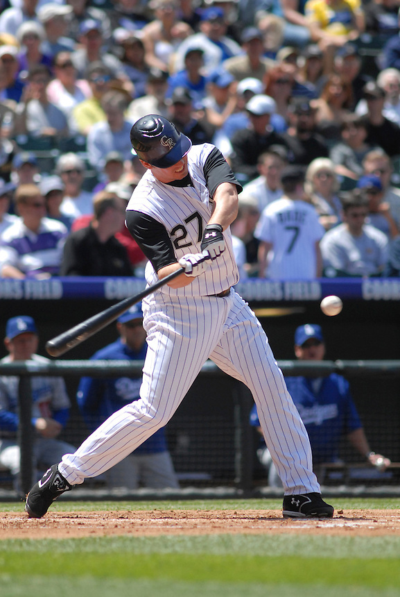Colorado Rockies 3rd baseman Garrett Atkins at bat against the Los Angeles Dodgers during a game at Coors Field in Denver, Colorado on May 4, 2008. FOR EDITORIAL USE ONLY. FOR EDITORIAL USE ONLY