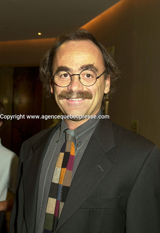 Sept 2, 2002, Montreal, Quebec, Canada<br /> <br /> 2002 World Film Festival Jury Member <br /> MAURIZIO NICHETTI on the closing night of the Festival<br /> <br /> The  Montreal World Films Festival is  held Aug 22 to Sept 2 2002  in  Montreal, Quebec, Canada<br /> <br /> Italian writer, producer, actor, director and all-round funnyman, Milan-born Maurizio Nichetti began working as a screenwriter for animator Bruno Bozzetto in the 1970s, directed shorts for the RAI TV network, then made his acting debut in ALLEGRO NON TROPPO in 1976. Three years later he made his feature debut as a director with RATATAPLAN, a critical and commercial hit. He hosted shows on television and has continued turning out comic shorts and features, including THE ICICLE THIEF (1989), a sophisticated lampoon/homage to De Sica, and VOLERE VOLARE (1991), which won both best script and the audience prize at the Montreal World Film Festival. <br /> <br /> <br /> Mandatory Credit: Photo by Pierre Roussel- Images Distribution. (&copy;) Copyright 2002 by Pierre Roussel <br /> <br /> NOTE : <br />  Nikon D-1 jpeg opened with Qimage icc profile, saved in Adobe 1998 RGB<br /> .Uncompressed  Uncropped  Original  size  file availble on request.