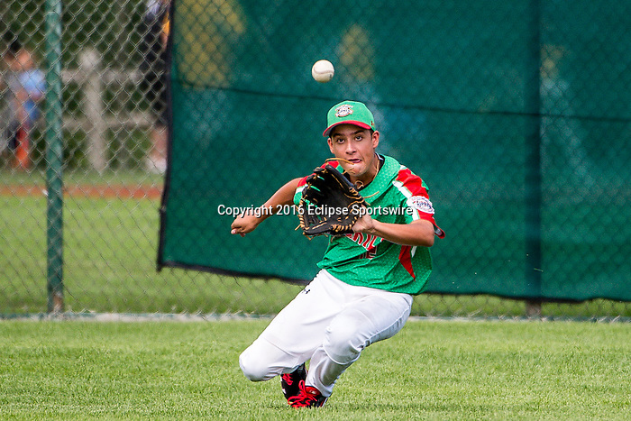 ABERDEEN, MD - AUGUST 02: David Guevara #12 of Mexico makes a diving catch for an out against Australia in a game between Australia and Mexico during the Cal Ripken World Series at The Ripken Experience Powered by Under Armour on August 2, 2016 in Aberdeen, Maryland. (Photo by Ripken Baseball/Eclipse Sportswire/Getty Images)