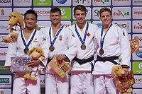 Gold medalist Miklos Ungvari (2nd L) of Hungary, silver medalist Masashi Ebinuma (L) of Japan with bronze medalists Frigyes Szabo (R) of Hungary and Arthur Margelidon (2nd R) of Canada celebrate their victory during an awards ceremony after the Men -73 kg category at the Judo Grand Prix Budapest 2018 international judo tournament held in Budapest, Hungary on Aug. 11, 2018. ATTILA VOLGYI