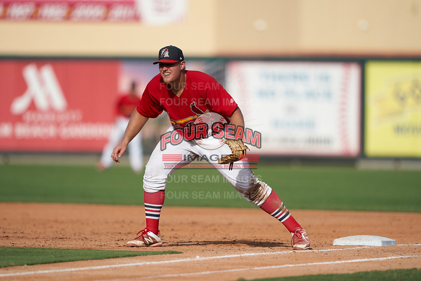 Palm Beach Cardinals first baseman Luken Baker (47) during a Florida State League game against the Clearwater Threshers on August 9, 2019 at Roger Dean Chevrolet Stadium in Jupiter, Florida.  Clearwater defeated Palm Beach 5-3 in the first game of a doubleheader.  (Mike Janes/Four Seam Images)