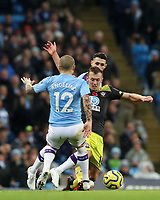 2nd November 2019; Etihad Stadium, Manchester, Lancashire, England; English Premier League Football, Manchester City versus Southampton; James Ward-Prowse of Southampton takes on Angelino of Manchester City - Strictly Editorial Use Only. No use with unauthorized audio, video, data, fixture lists, club/league logos or 'live' services. Online in-match use limited to 120 images, no video emulation. No use in betting, games or single club/league/player publications