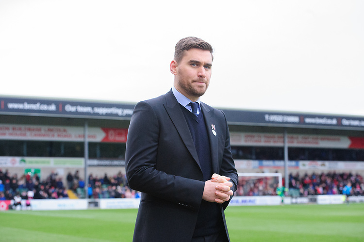 Grimsby Town manager Michael Jolley<br /> <br /> Photographer Chris Vaughan/CameraSport<br /> <br /> The EFL Sky Bet League Two - Lincoln City v Grimsby Town - Saturday 19 January 2019 - Sincil Bank - Lincoln<br /> <br /> World Copyright &copy; 2019 CameraSport. All rights reserved. 43 Linden Ave. Countesthorpe. Leicester. England. LE8 5PG - Tel: +44 (0) 116 277 4147 - admin@camerasport.com - www.camerasport.com