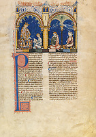 "Alfonso X of Castile (1221-1284), called the Wise, dictating to a scribe, with two other characters that might be chess players of his court compiling information about the game. Copy of the first edition of the ""Book of Chess, Dice and Board Games"", 13th century manuscript kept in the Library of the Real Monastery in San Lorenzo de El Escorial, on natural parchment made of animal skin published by Scriptorium SL in Valencia, Spain. © Scriptorium / Manuel Cohen"