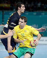 Spain's Angel Montoro Cabello (l) and Australia's Caleb Gahan during 23rd Men's Handball World Championship preliminary round match.January 15,2013. (ALTERPHOTOS/Acero) /NortePhoto