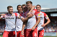 Joel Byrom of Stevenage scores the second Goal and celebrates  during Stevenage vs Tranmere Rovers, Sky Bet EFL League 2 Football at the Lamex Stadium on 4th August 2018