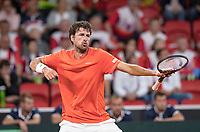 The Hague, The Netherlands, September 15, 2017,  Sportcampus , Davis Cup Netherlands - Chech Republic, Seccond Rubber: Robin Haase (NED) wins the first set and celebrates.<br /> <br /> <br /> Photo: Tennisimages/Henk Koster