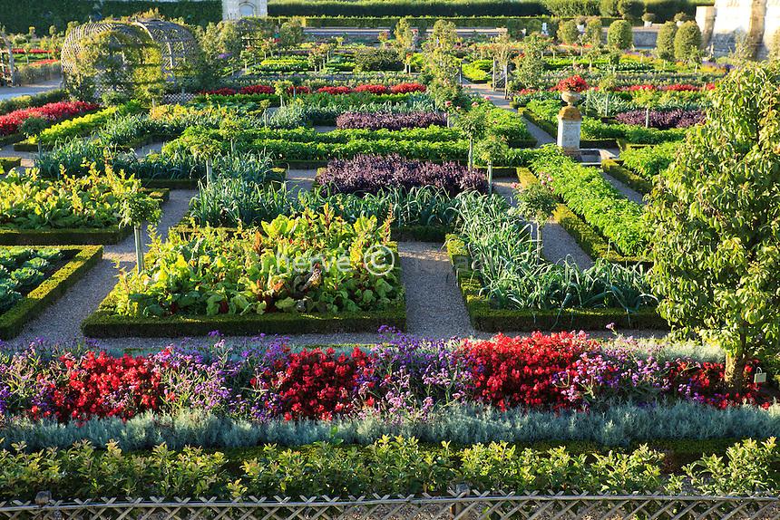 """France, Jardins du château de Villandry, le potager traité en jardin à la française // France, Gardens of Villandry castle, the kitchen garden treated like a """"jardin à la française""""."""