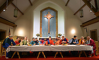 Cast members, from left Barry Holsinger, Taylor Bloss, Mike Juszynski, Rich Enders, Ray Fox, John Loux, Louise Torres (as Jesus), Bill Bohner, Neil Stettler, Mitchell Hendricks, Mike Helsey, John Schlupp and Tom Ruffler rehearse the Last Supper at Trinity Lutheran Church Monday March 30, 2015 in Quakertown, Pennsylvania. The group will perform the Last Supper Thursday at 7p as they have done for the past 14 years. (Photo by William Thomas Cain/Cain Images)