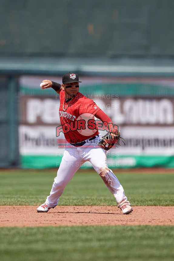 Erie SeaWolves third baseman Isaac Paredes (18) throws to first base during an Eastern League game against the Akron RubberDucks on June 2, 2019 at UPMC Park in Erie, Pennsylvania.  Akron defeated Erie 7-2 in the first game of a doubleheader.  (Mike Janes/Four Seam Images)