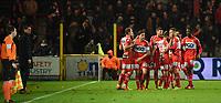 1/8 finale Croky Cup<br /> KV KORTRIJK - R ANTWERP FC :<br /> spelers van KV Kortrijk vieren hun vierde goal voor de ogen van hun trainer , Glen De Boeck (L)<br /> <br /> Foto VDB / Bart Vandenbroucke