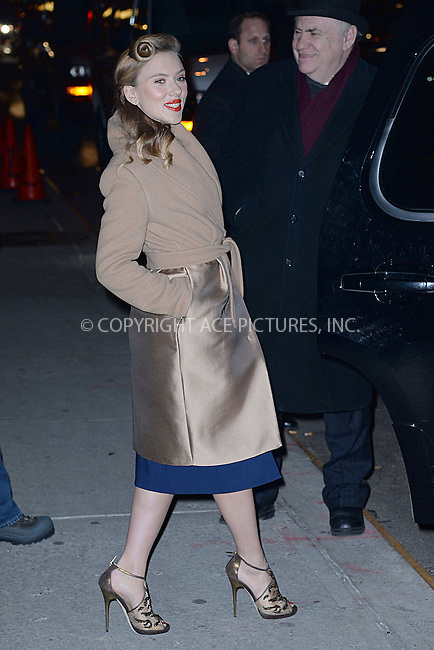 WWW.ACEPIXS.COM <br /> January 8, 2014 New York City<br /> <br /> Scarlett Johansson after taping an appearance on the Late Show with David Letterman on January 8, 2014 in New York City.<br /> <br /> Please byline: Kristin Callahan  <br /> <br /> ACEPIXS.COM<br /> Ace Pictures, Inc<br /> tel: (212) 243 8787 or (646) 769 0430<br /> e-mail: info@acepixs.com<br /> web: http://www.acepixs.com