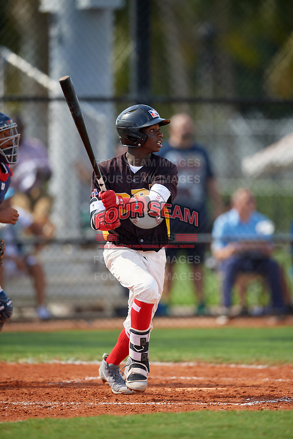 Felnin Celesten (3) during the Dominican Prospect League Elite Florida Event at Pompano Beach Baseball Park on October 15, 2019 in Pompano beach, Florida.  (Mike Janes/Four Seam Images)