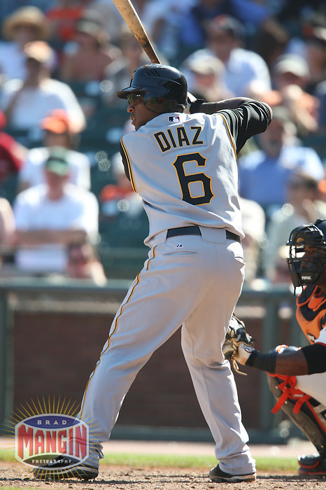 SAN FRANCISCO - SEPTEMBER 7:  Robinzon Diaz of the Pittsburgh Pirates bats during the game against the San Francisco Giants at AT&T Park in San Francisco, California on September 7, 2008.  The Giants defeated the Pirates 11-6.  Photo by Brad Mangin