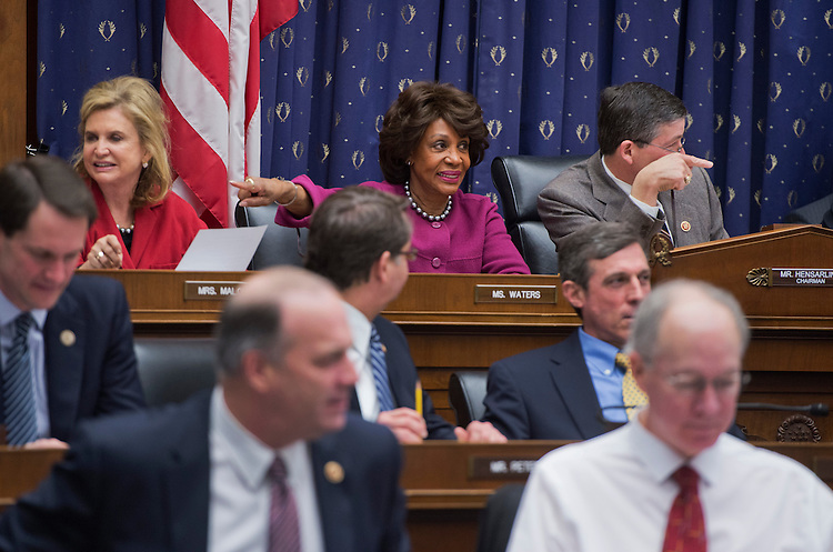 UNITED STATES - FEBRUARY 15:  House Financial Services Committee Chairman Jeb Hensarling, R-Texas, and Rep. Maxine Waters, D-Calif., ranking member, conduct a hearing in Rayburn Building to discuss an oversight plan for the 113th Congress. (Photo By Tom Williams/CQ Roll Call)