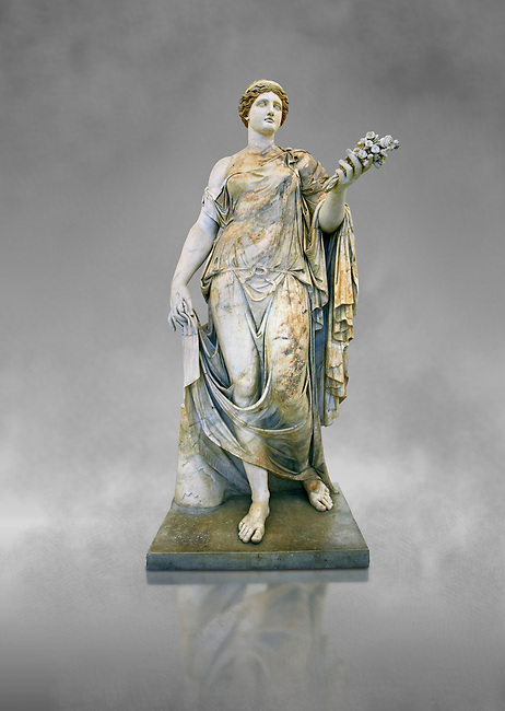 Roman marble sculpture known as the 'Flora Maggiore' , a 2nd century AD, inv no 6409 Farnese Collection, Naples  Museum of Archaeology, Italy