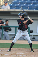 Aaron Barbosa (6) of the Bakersfield Blaze bats during a game against the Rancho Cucamonga Quakes at LoanMart Field on June 1, 2015 in Rancho Cucamonga, California. Rancho Cucamonga defeated Bakersfield, 5-2. (Larry Goren/Four Seam Images)