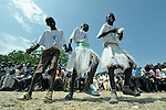 Youth dance during an outdoor Mass in Christ the King Catholic parish in Malakal, Southern Sudan, on November 21, 2010. NOTE: In July 2011 Southern Sudan became the independent country of South Sudan.