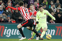Atletic de Bilbao's Aymeric Laporte (l) and Iker Muniain (c) and FC Barcelona's Leo Messi during La Liga match.February 8,2015. (ALTERPHOTOS/Acero) /NORTEphoto.com