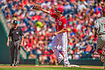15 September 2013: Washington Nationals first baseman Adam LaRoche gets Jimmy Rollins out at first during a game against the Philadelphia Phillies at Nationals Park in Washington, DC. The Nationals took the rubber match of their 3-game series 11-2 to keep their wildcard postseason hopes alive. Mandatory Credit: Ed Wolfstein Photo *** RAW (NEF) Image File Available ***