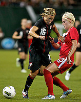 USWNT midfielder Lori Lindsey in action. USWNT played played a friendly against Canada at JELD-WEN Field in Portland, Oregon on September 22, 2011.