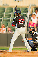 Lewis Brinson (27) of the Hickory Crawdads at bat against the Kannapolis Intimidators at CMC-Northeast Stadium on July 26, 2013 in Kannapolis, North Carolina.  The Intimidators defeated the Crawdads 2-1.  (Brian Westerholt/Four Seam Images)